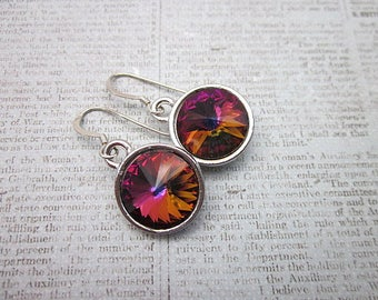 Red Purple Orange Earrings -- 12mm Crystal Earrings -- Colorful Swarovski Earrings -- Volcano Crystal Earrings -- Volcano Drop Earrings