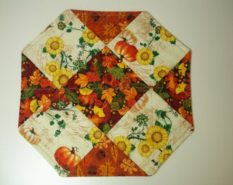 AUTUMN CANDLE MAT / Reversible Quilted Candle Mat / Pumpkins Sunflowers/ Leaves / Fall Fabric Candle Mat