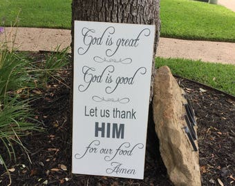 Kitchen Wall Decor ~God Is Great God Is Good ~Dining Room Wall Art ~Farmhouse Kitchen Wall Decor ~Kitchen Wall Art ~Kitchen Sign ~Christian