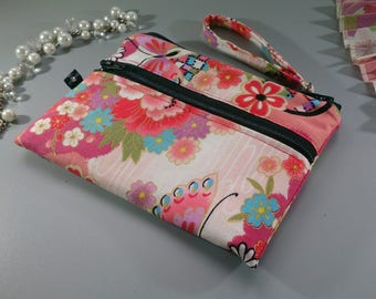 Coin purse 2 zippered pockets - Umika red pink