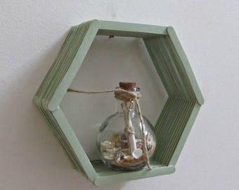 ON SALE Honeycomb Shelf - Seafoam Green Hexagon Popsicle Stick Shelf