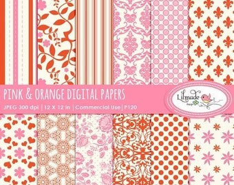 65%OFF SALE Digital papers, pink and orange digital scrapbook papers, vintage scrapbook papers, damask digital papers, P120