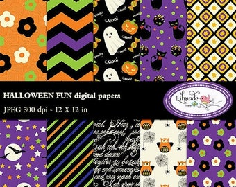 65%OFF SALE Halloween digital paper, Halloween scrapbook paper, Halloween patterns, Halloween backgrounds, commercial use, P90