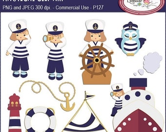50%OFF Nautical clipart, sailing clipart, summer clipart, sailor kids clip art, sailor owl clip art, lighthouse clip art, P127