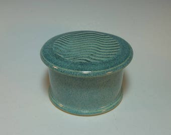 Frosty Blue-Green French Butter Keeper, Butter Crock, Butter Dish Server - In Stock Ready to Ship