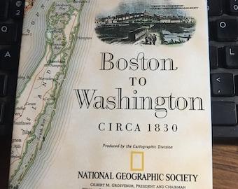 Boston to Washington circa 1830 National Geographic map circa 1994.