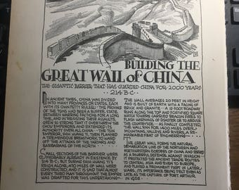 Building the Great Wall of China . 1933 book page removed ftom a damaged book. Art  history