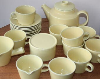 Lot of Vintage Arabia Finland Yellow Kilta, Teema, by Kaj Franck, 23 pcs, Teapot, Gravy, Cream, Sugar, Cup Saucer x 8