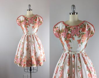 1950s Vintage Dress / 50s Floral Print Dress / Blooming Gladiolus Dress