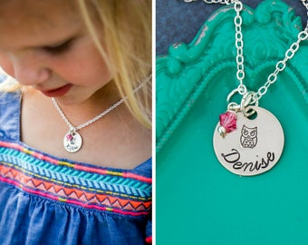 Owl Necklace Owl Jewelry • Little Owl Gift Small Owl Charm Little Girl Birthday Party Favor • Bird Necklace Toddler Necklace