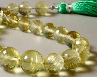 ON SALE Faceted Lemon Quartz Round Beads Faceted Rounds - Earth Mined Gemstone - 4 or 8-Inch Strands - 16 or 32 Beads - 6.5 to 6.8mm