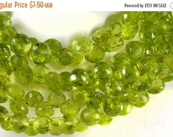 ON SALE Peridot Onions Beads Faceted Briolettes Candy Kiss Briolettes Earth Mined Gemstone August Birthday - 10 Beads  - About 5x5mm