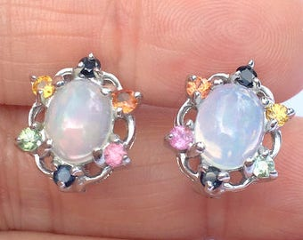 All Natural Gemstone Earrings, Welo Opals, Multi-Color, Fancy Sapphire Accents, Sterling Silver/White Gold Settings