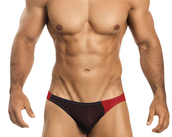 Chocolate & Red Asymmetrical Swim Bikini for Men by Vuthy Sim    2-5