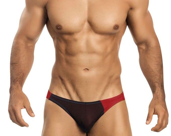 Chocolate & Red Asymmetrical Swim Bikini for Men by Vuthy Sim    2-5