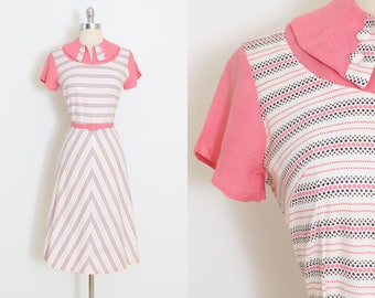 Vintage 30s Dress | 1930s pink polka dots dress | cotton chevron dots | m/l | 5965