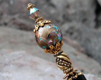 Hair Stick Bronze Peacock Design Japanese Tensha Swarovski Geisha Hair Sticks Hairsticks Kanzashi Hair Pins Hair Chopsticks - Delila 3297