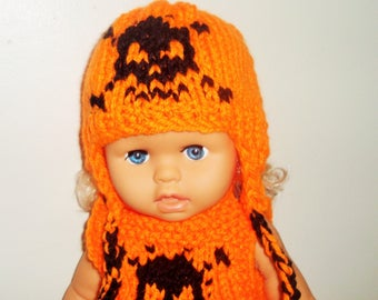 18 inch Doll Clothes, Skull Knit Hat with earflaps, Neon Orange, fit American Girl Doll Clothes, Easter Gifts for Girls Birthday Gift