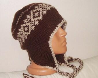 Hand knit hat Wool hat man Hat beige Brown ear flaps hat Winter hat men