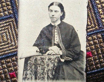 GEM Size Tintype - Seated Lady w/ Tapestry