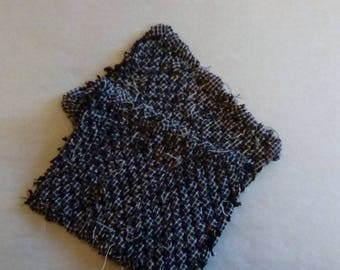 2 Hand Loomed Homespun Mug Mats Black Trivet Coaster Primitive  Colonial Americana