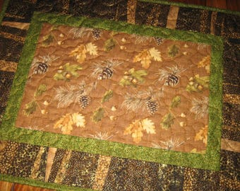 """Pine Cones Leaves Rustic Cabin Quilted Table Topper, Reversible, 24 x 16"""", 100% cotton fabrics"""