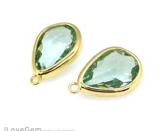 2pcs, G0171 Gold, Erinite, 10.5X16.6mm, Framed Glass Pendant, Faceted Glass Drop Charm, Glass Necklace Pendant