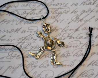 Mixed Metal Cowboy Charm Necklace Western, Rodeo Jewelry