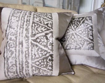 SCHUMACHER Pillow Cover 20 x 20 Gray Putty Brown Both Sides Mitered Welting FABULOUS!