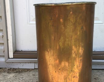 cool old copper trash can