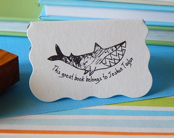 Snappy Shark Olive Wood Book Stamp