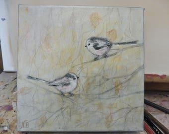 Naive Art Folk Original Painting Canvas Birds Longtailed Tits Acrylic