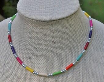 Rainbow Howlite Cylinder Bead Necklace