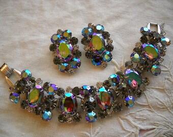 Vintage Juliana Bracelet Clip Earring Set Purple Blue Headlight AB Rhinestones FREE SHIPPING