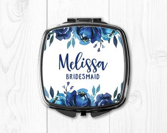Bridesmaid Gift Ideas Personalized Bridesmaid Gift Blue Wedding Party Favors Compact Mirror Wedding Gift for Bridesmaid Wedding Gift Navy