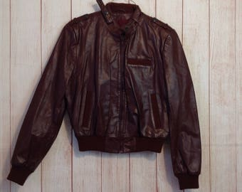 Vintage 80s Montgomery Ward The Tannery Leather Fitted Cropped Bomber Jacket Ladies M