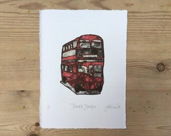 Red Double Decker Bus Original Monoprint London Souvenir Iconic Holiday Momento