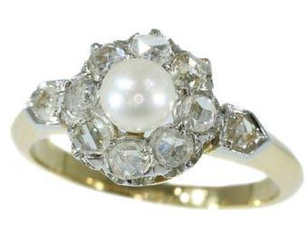 ON SALE 19th Century diamond pearl engagement ring Victorian antique diamond ring 18k yellow gold