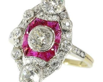 Ruby diamond engagement ring 18k yellow gold old European cut diamonds 2.15ct rubies rose cut diamonds Art Deco ring