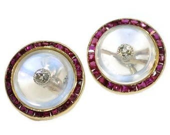 Moonstone ruby diamond round cuff links 18k yellow gold old European brilliant cut diamonds .10ct vintage Art Deco mens jewelry