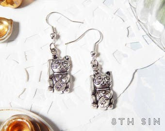 Antique Silver Lucky Cat Earrings, Antique Silver Maneki Neko Earrings, Antique Silver Cat Earrings, Good Luck Earrings, Lucky Earrings