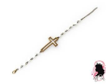 Antique Bronze and White Pearl Cross Bracelet, Antique Bronze Cross Bracelet, White Pearl Bracelet, White Pearl and Bronze Cross Bracelet