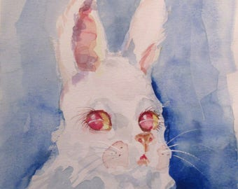 Bunny Rabbit 12x9 watercolor painting Delilah art