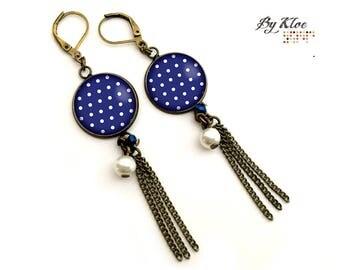 Earrings Cabochons • Pea • bue white popompon pearl brass glass