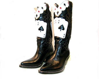 Viva Las Vegas Rockabilly Cowboy Boots Vintage Mens Rancho Loco Ace of Spades Leather Inlay Western Boots Mns US Sz 8 Will Fit Wmns US Sz 9
