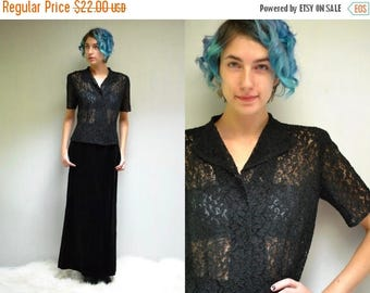 sale 25% off - 50s Lace Top //  Black Lace Blouse  //  See Through Blouse //  THE HARBINGER