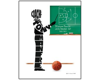 Basketball Coach Print, Custom Gift for Coach Personalized Print with Coach's Name