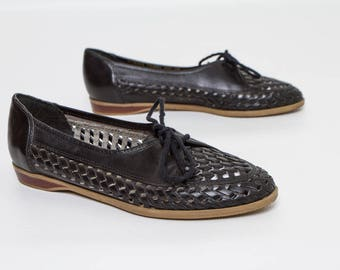 vintage oxfords black leather cutout shoes women's size 6