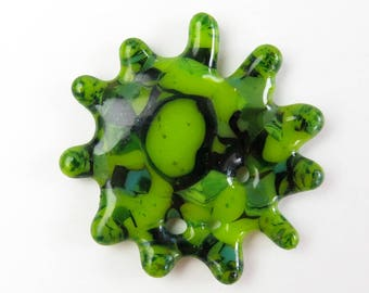 Microbe  Fused Glass Pendant Pin Magnet Brooch Ornament