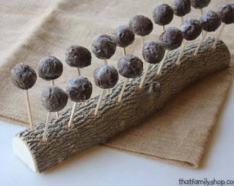 Cake Pop Holder, Log Party Cake Stand Display, Party Decor, Cakestand Log with Bark, Burlap Table Centerpiece Treat Stand Organizer
